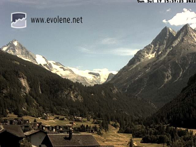 Webcam Evolène Dent-Blanche - Meteo Evolene - Aussicht von Chalet Bellevue